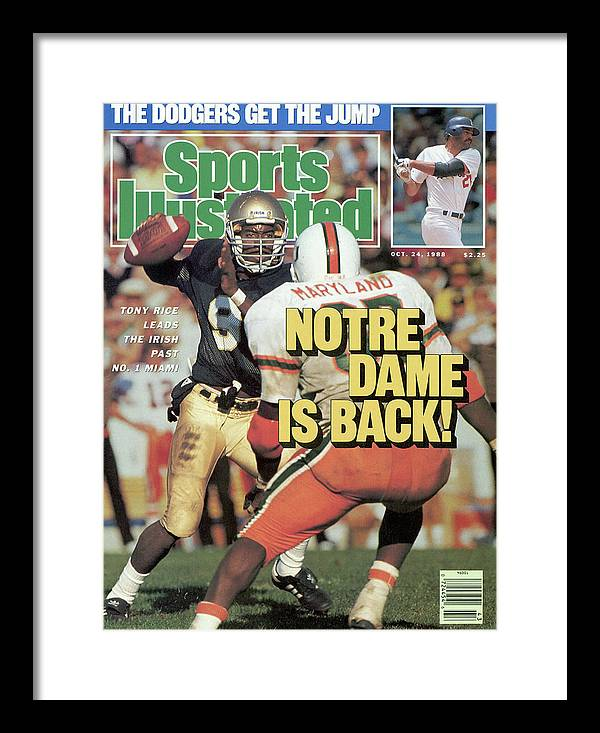 1980-1989 Framed Print featuring the photograph Notre Dame Is Back Tony Rice Leads The Irish Past No. 1 Sports Illustrated Cover by Sports Illustrated