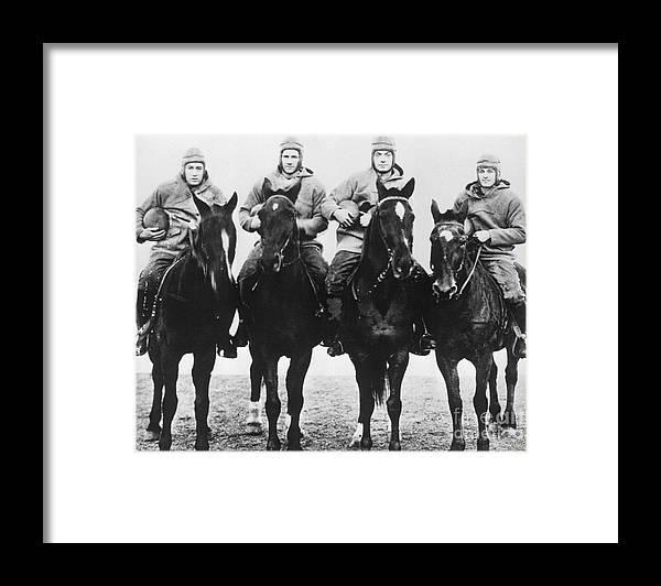 Horse Framed Print featuring the photograph Notre Dames Four Horsemen Of Football by Bettmann