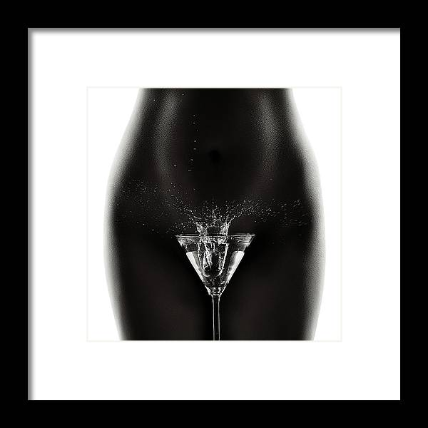 Woman Framed Print featuring the photograph Nude Woman With Martini Splash by Johan Swanepoel