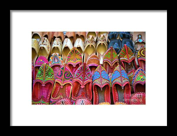 Jaisalmer Framed Print featuring the photograph Numerous Colorful Embroidered Shoes by Tarzan9280