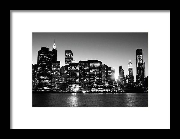 Lower Manhattan Framed Print featuring the photograph Nyc Skyline At Sunset by Lisa-blue