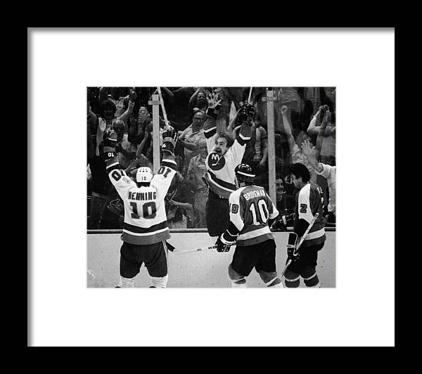 Working Framed Print featuring the photograph Nystrom Celebrates Winning Goal At by B Bennett