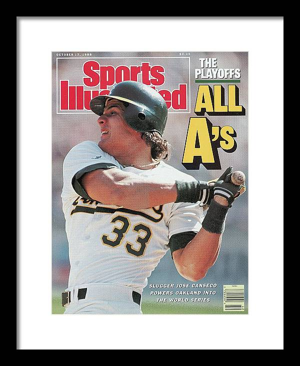 Playoffs Framed Print featuring the photograph Oakland Athletics Jose Canseco, 1988 Al Championship Series Sports Illustrated Cover by Sports Illustrated