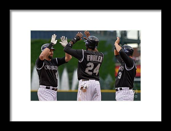 American League Baseball Framed Print featuring the photograph Oakland Athletics V Colorado Rockies by Doug Pensinger
