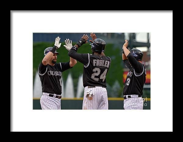 American League Baseball Framed Print featuring the photograph Oakland Athletics V Colorado Rockies by Doug Pensinger