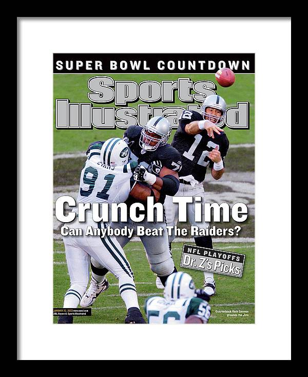 Magazine Cover Framed Print featuring the photograph Oakland Raiders Qb Rich Gannon, 2003 Afc Divisional Playoffs Sports Illustrated Cover by Sports Illustrated
