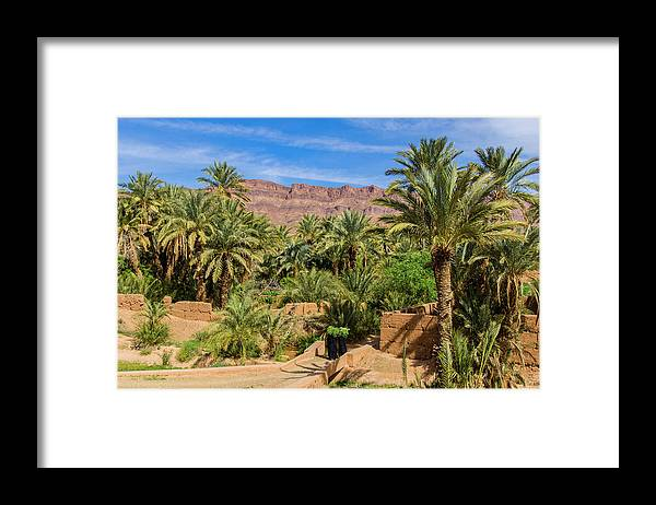 Tranquility Framed Print featuring the photograph Oasis Around Ouled Atmane Kasbah by Maremagnum