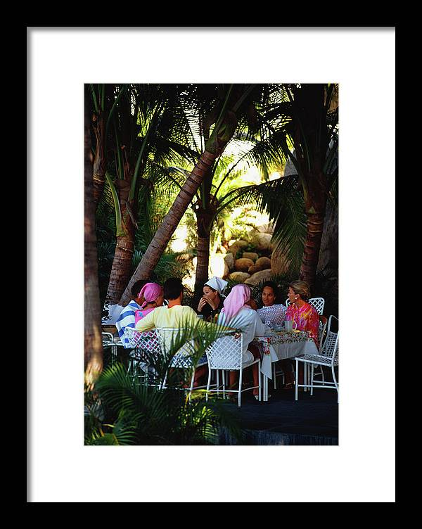 People Framed Print featuring the photograph Oberons Lunch by Slim Aarons