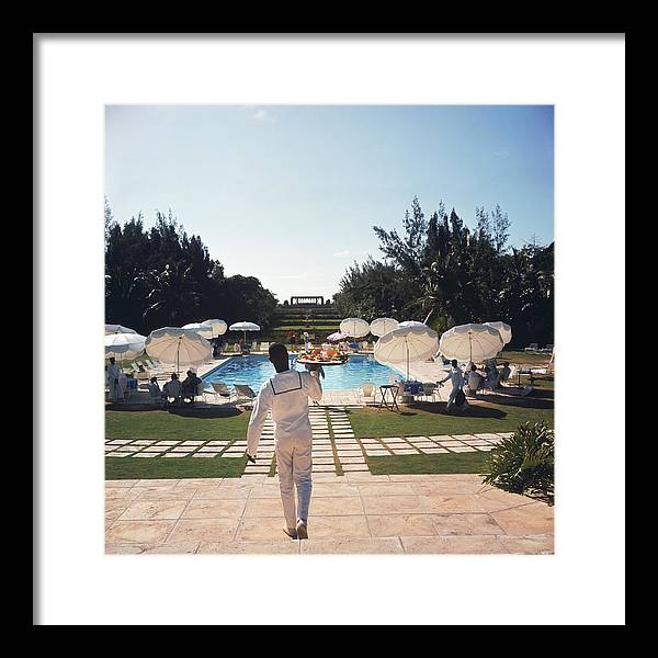People Framed Print featuring the photograph Ocean Club On Paradise Island by Slim Aarons
