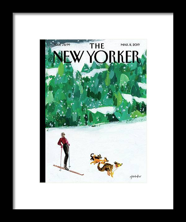 Skiing Framed Print featuring the painting Off The Path by Gayle Kabaker