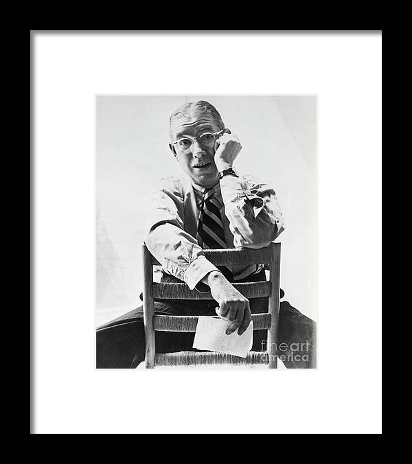 Poetry- Literature Framed Print featuring the photograph Ogeden Nash by Bettmann