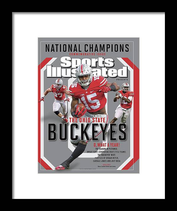 Ohio State Buckeyes Framed Print featuring the photograph Ohio State University 2014 Ncaa National Champions Sports Illustrated Cover by Sports Illustrated