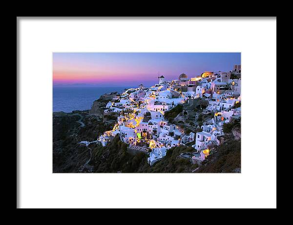 Greek Culture Framed Print featuring the photograph Oia Lights At Sunset by Greg Gibb Photography
