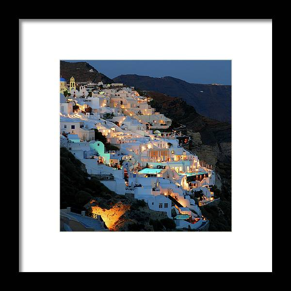 Tranquility Framed Print featuring the photograph Oia, Santorini Greece At Night by Marcel Germain