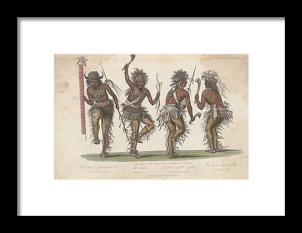 People Framed Print featuring the digital art Ojibwa War Dance by Rischgitz