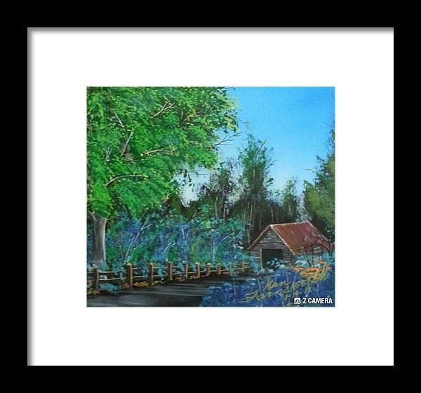 Landscape Framed Print featuring the painting Old Barn by Ken Farnsworth