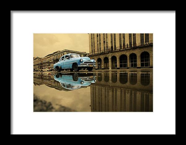 Arch Framed Print featuring the photograph Old Blue Car In Havana by 1001nights