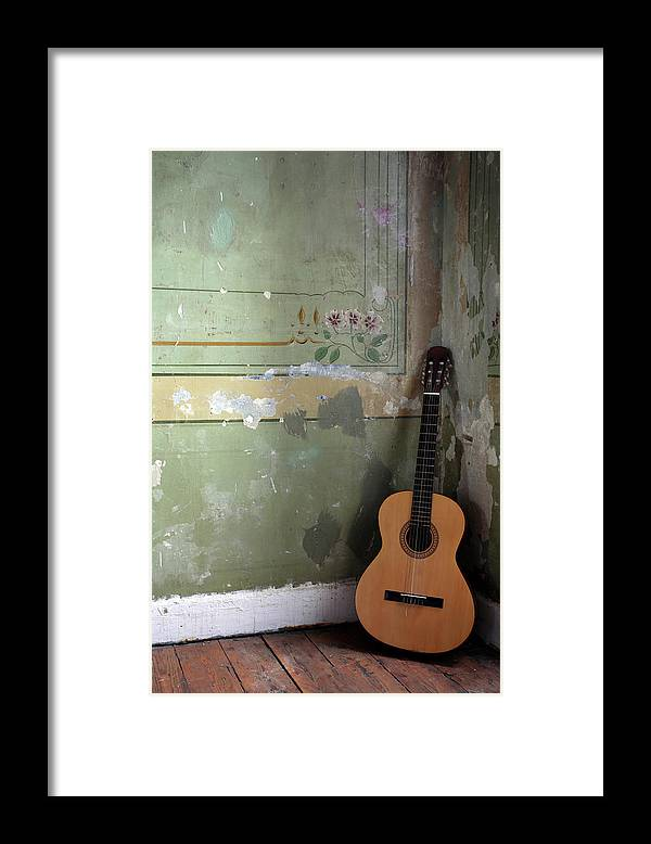 Music Framed Print featuring the photograph Old Guitar by Kursad
