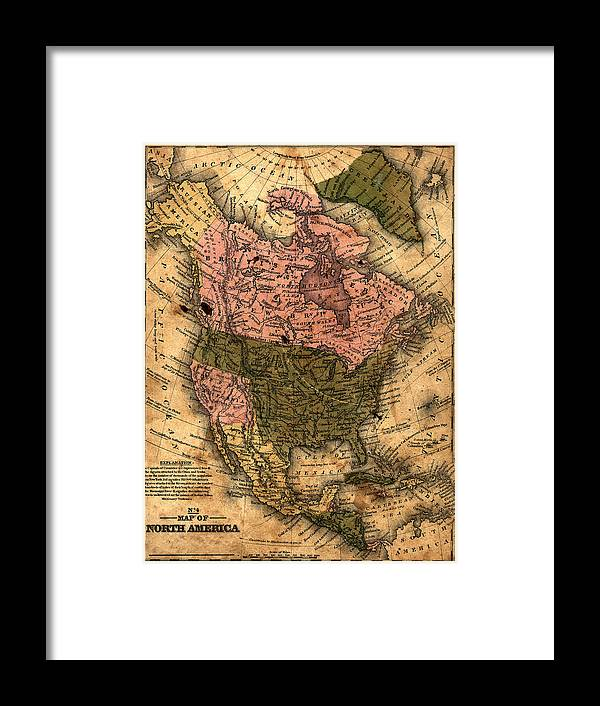 Outdoors Framed Print featuring the photograph Old North America Map by Belterz