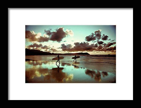 Water's Edge Framed Print featuring the photograph Old Skool Surf by Landscapes, Seascapes, Jewellery & Action Photographer