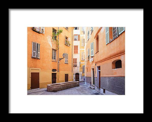 Orange Color Framed Print featuring the photograph Old Town Of Nice, French Riviera, France by Aprott