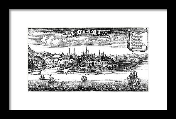 Engraving Framed Print featuring the drawing Old View Of Quebec, 1730 C1880 by Print Collector