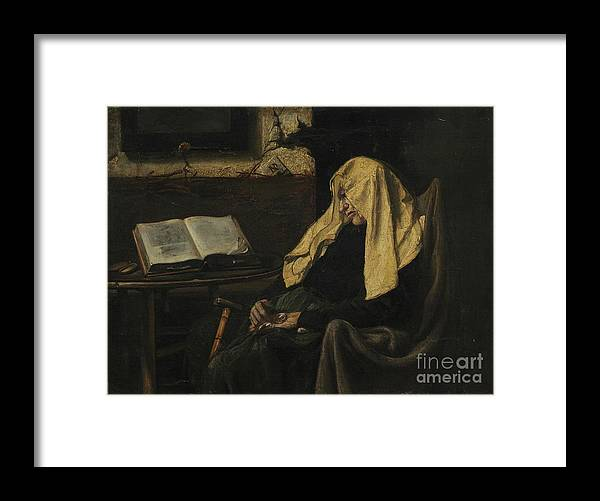 Senior Women Framed Print featuring the drawing Old Woman Asleep by Heritage Images