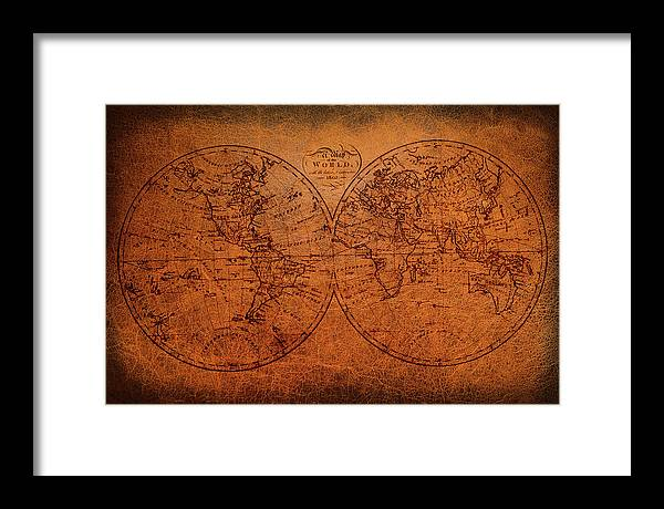 Old World Map Framed Print featuring the mixed media Old World Map by Trevor Slauenwhite