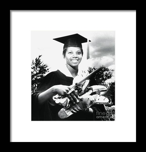 The Olympic Games Framed Print featuring the photograph Olympic Gold Medal Winner Wilma Rudolph by Bettmann