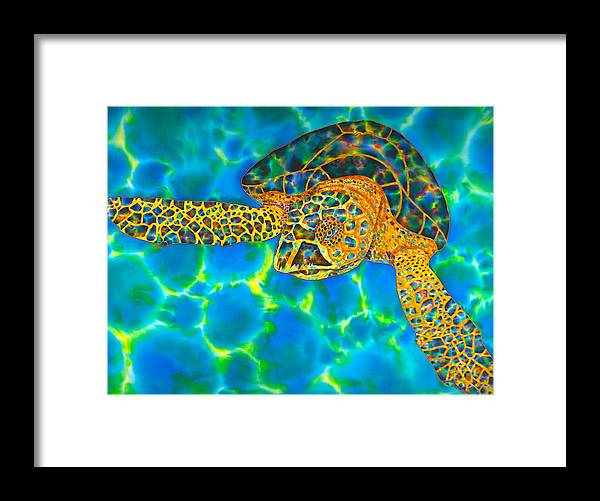 Jean-baptiste Design Framed Print featuring the painting Opal Sea Turtle by Daniel Jean-Baptiste