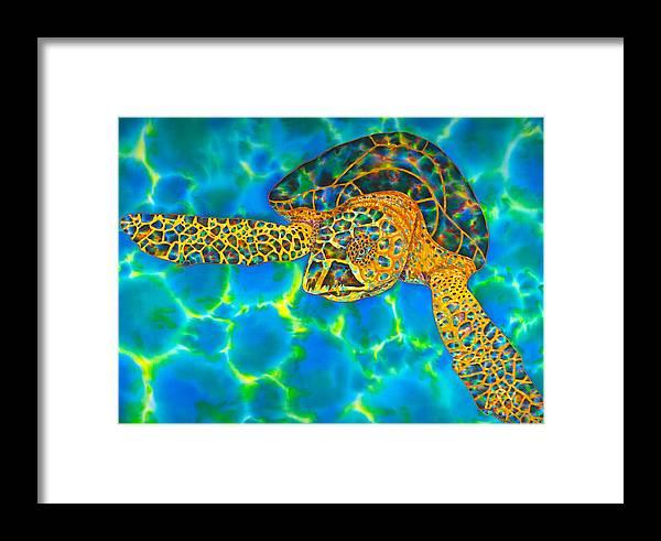 Batik Framed Print featuring the painting Opal Sea Turtle by Daniel Jean-Baptiste
