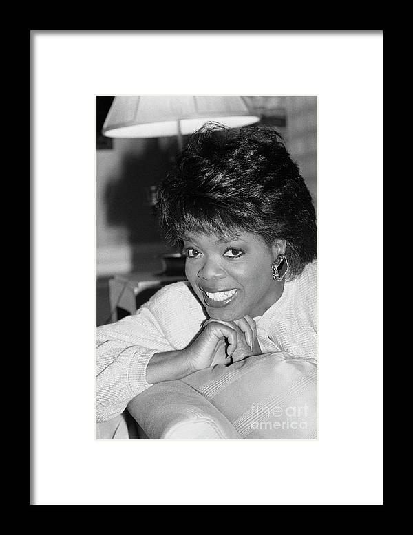 1980-1989 Framed Print featuring the photograph Oprah Winfrey, 1986 by Bettmann