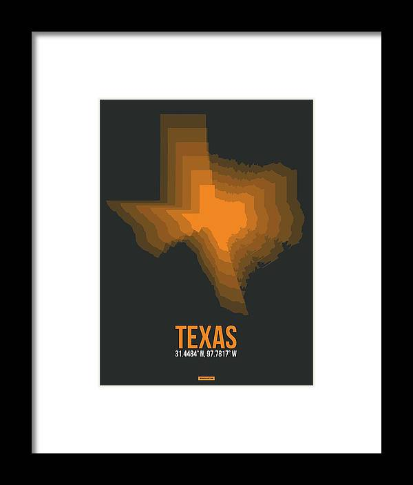 Texas Map Framed Print featuring the digital art Orange Map Of Texas by Naxart Studio
