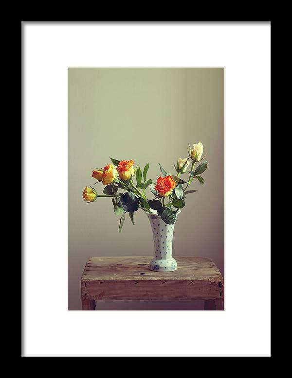 Orange Color Framed Print featuring the photograph Orange Roses In Vintage Vase by Copyright Anna Nemoy(xaomena)