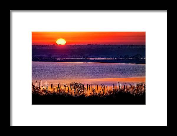 Scenics Framed Print featuring the photograph Orange Sunrise On Benbrook Lake by Dean Fikar