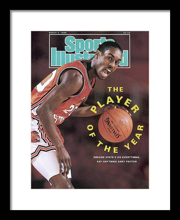 Magazine Cover Framed Print featuring the photograph Oregon State Gary Payton Sports Illustrated Cover by Sports Illustrated