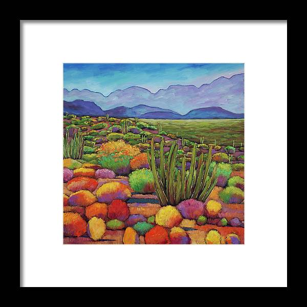 Desert Landscape Framed Print featuring the painting Organ Pipe by Johnathan Harris
