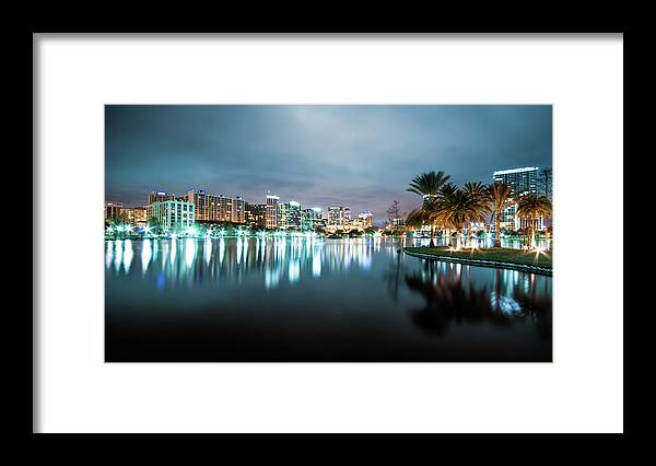 Outdoors Framed Print featuring the photograph Orlando Night Cityscape by Sky Noir Photography By Bill Dickinson