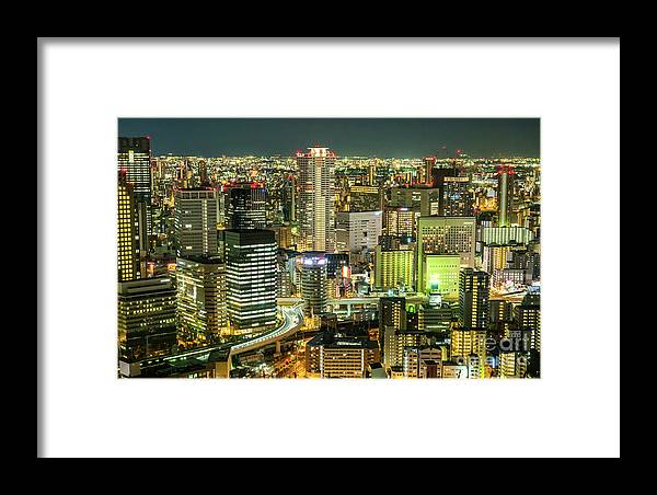 City Framed Print featuring the photograph Osaka Skyline, Japan by Fototrav Print