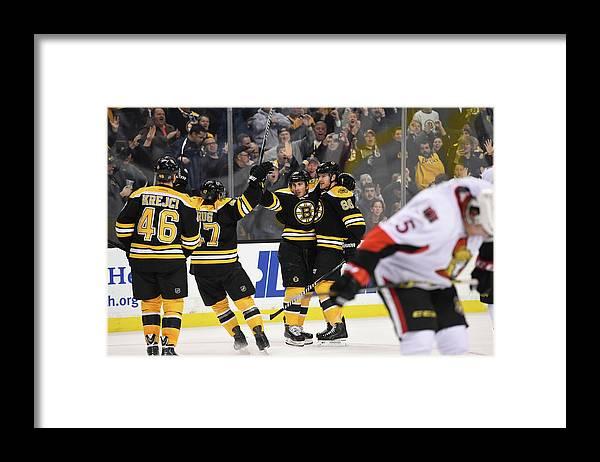 National Hockey League Framed Print featuring the photograph Ottawa Senators V Boston Bruins by Brian Babineau