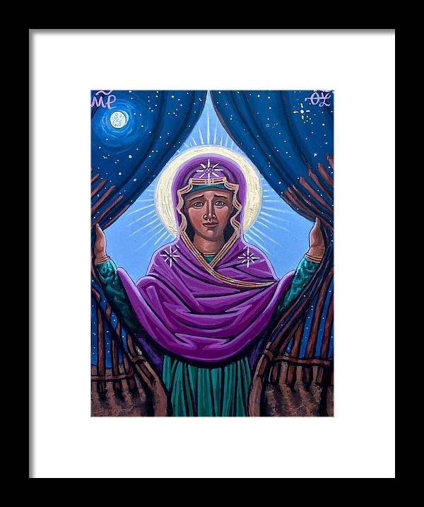 Framed Print featuring the painting Our Lady Who Removes Walls by Kelly Latimore