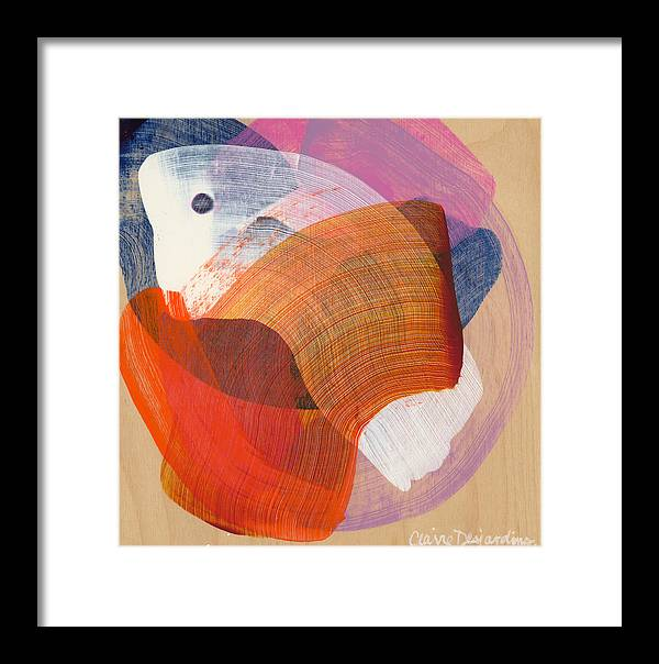Abstract Framed Print featuring the painting Out Of The Blue 01 by Claire Desjardins