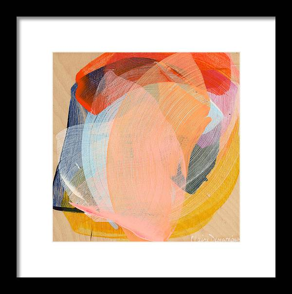 Abstract Framed Print featuring the painting Out Of The Blue 02 by Claire Desjardins