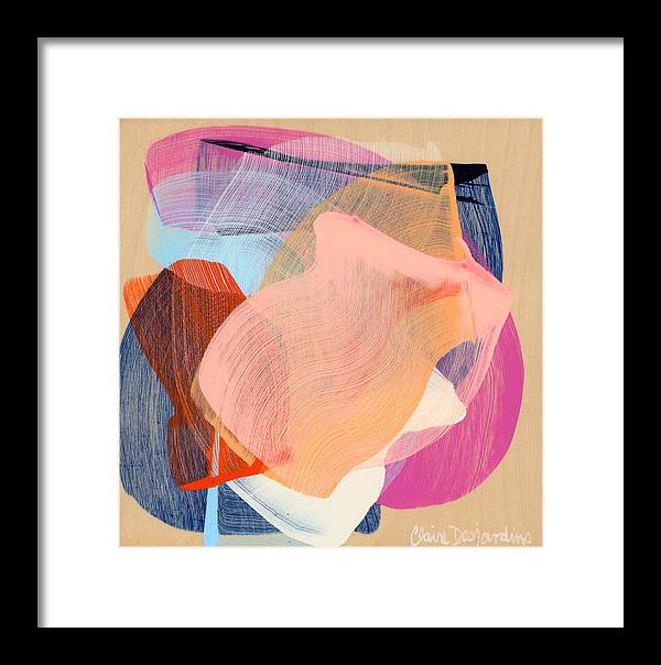 Abstract Framed Print featuring the painting Out Of The Blue 03 by Claire Desjardins