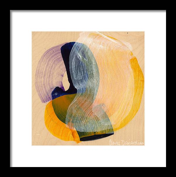 Abstract Framed Print featuring the painting Out Of The Blue 04 by Claire Desjardins