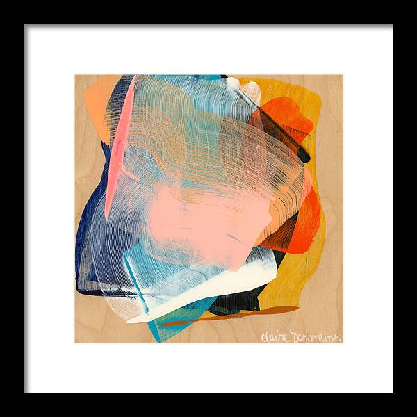 Abstract Framed Print featuring the painting Out Of The Blue 06 by Claire Desjardins