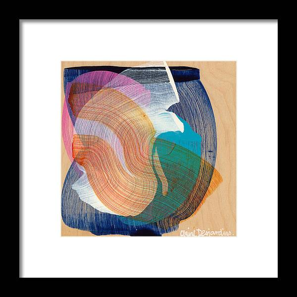 Abstract Framed Print featuring the painting Out Of The Blue 07 by Claire Desjardins