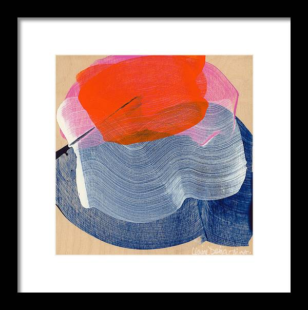 Abstract Framed Print featuring the painting Out Of The Blue 08 by Claire Desjardins