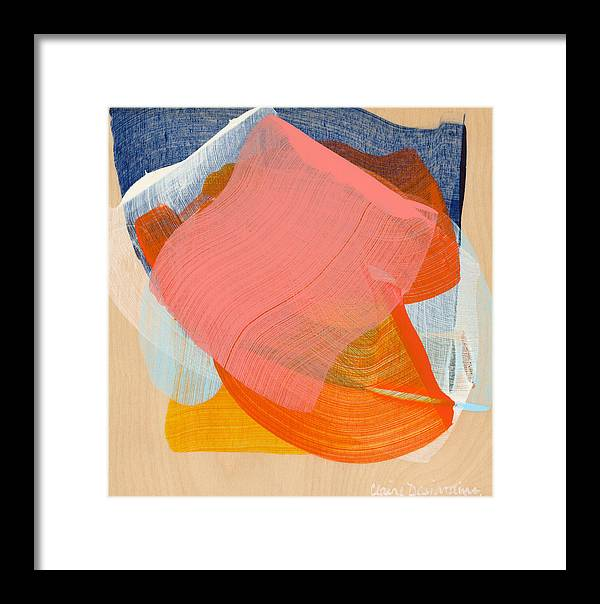 Abstract Framed Print featuring the painting Out Of The Blue 10 by Claire Desjardins
