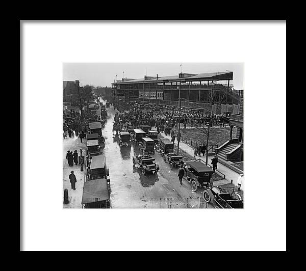 Outdoors Framed Print featuring the photograph Outside Wrigley Field by Chicago History Museum